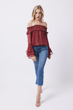 Cabernet Off Shoulder Blouse - Cabernet Lurex