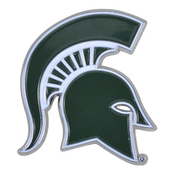 MSU Spartan Head Chrome Emblem - Green/White