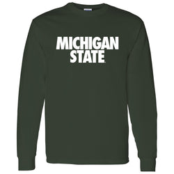 Michigan State Text Long Sleeve T-Shirt - Forest