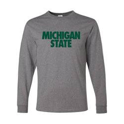 Michigan State Text Long Sleeve T-Shirt - Oxford