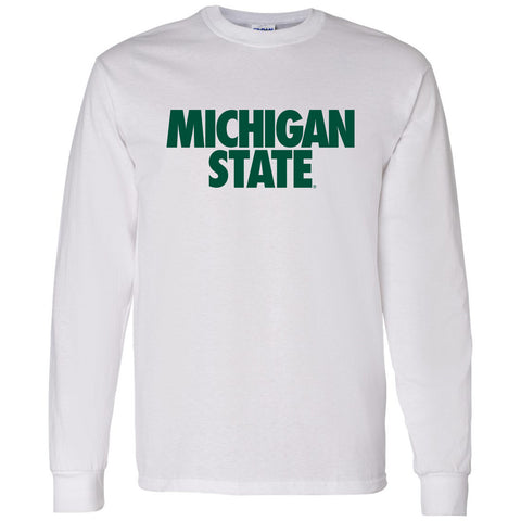Michigan State Text Long Sleeve T-Shirt - White