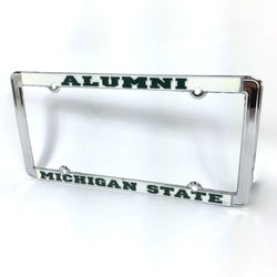 Thin Rim Chrome License Plate Frame - Alumni