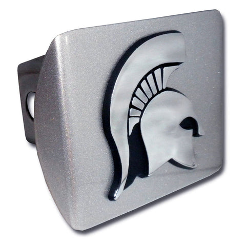 Spartan Head on Brushed Chrome Hitch Cover