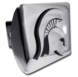 Sparty Head on Chrome Hitch Cover