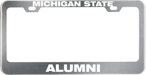 Brushed Stainless Steel License Plate Frame - Alumni