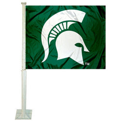 Green Car Flag - Spartan Helmet