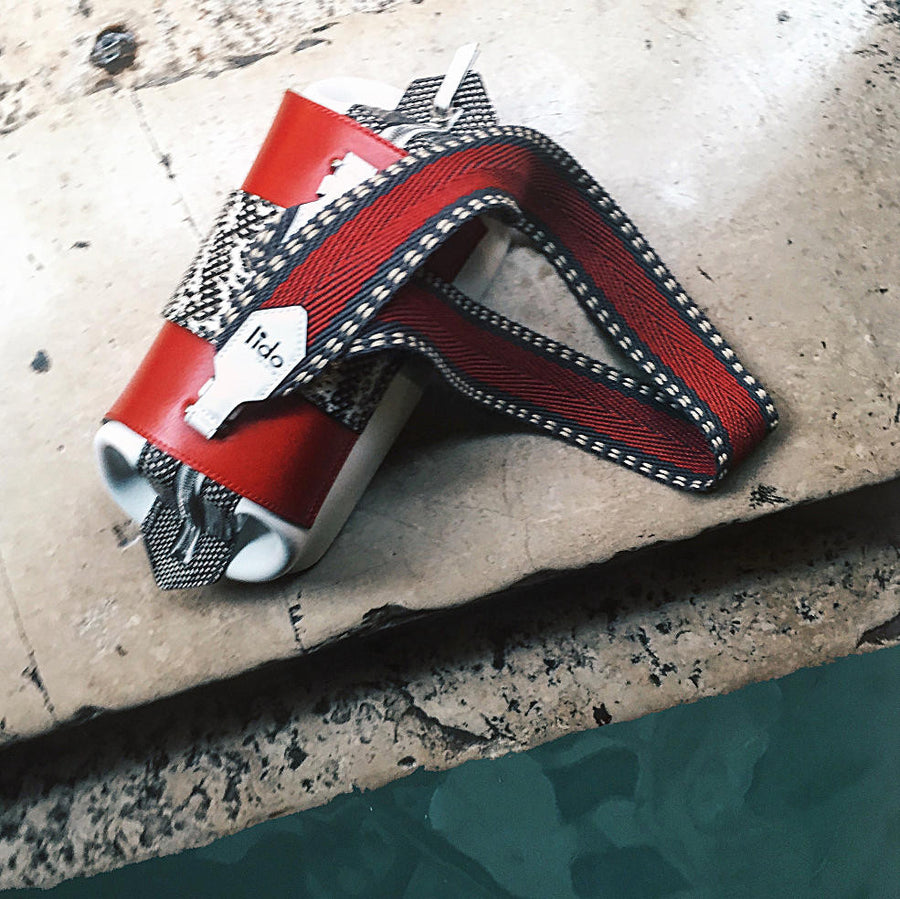bag snake leather natural red