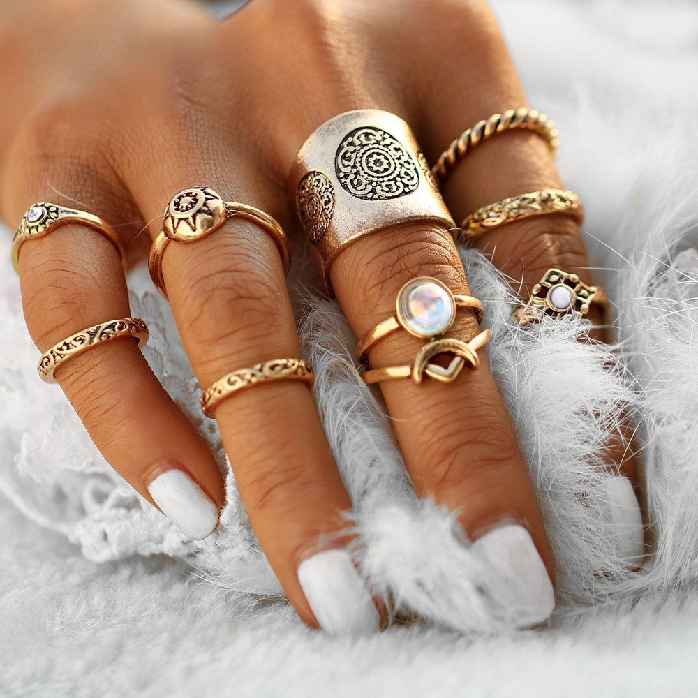 9 pc/set Vintage Boho Midi Rings