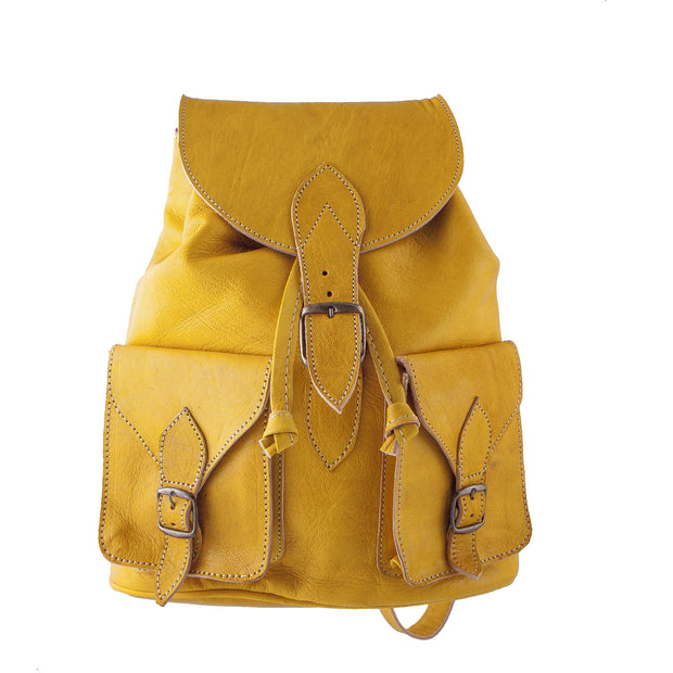 Vintage Style Women's Backpack - Handmade - Yellow