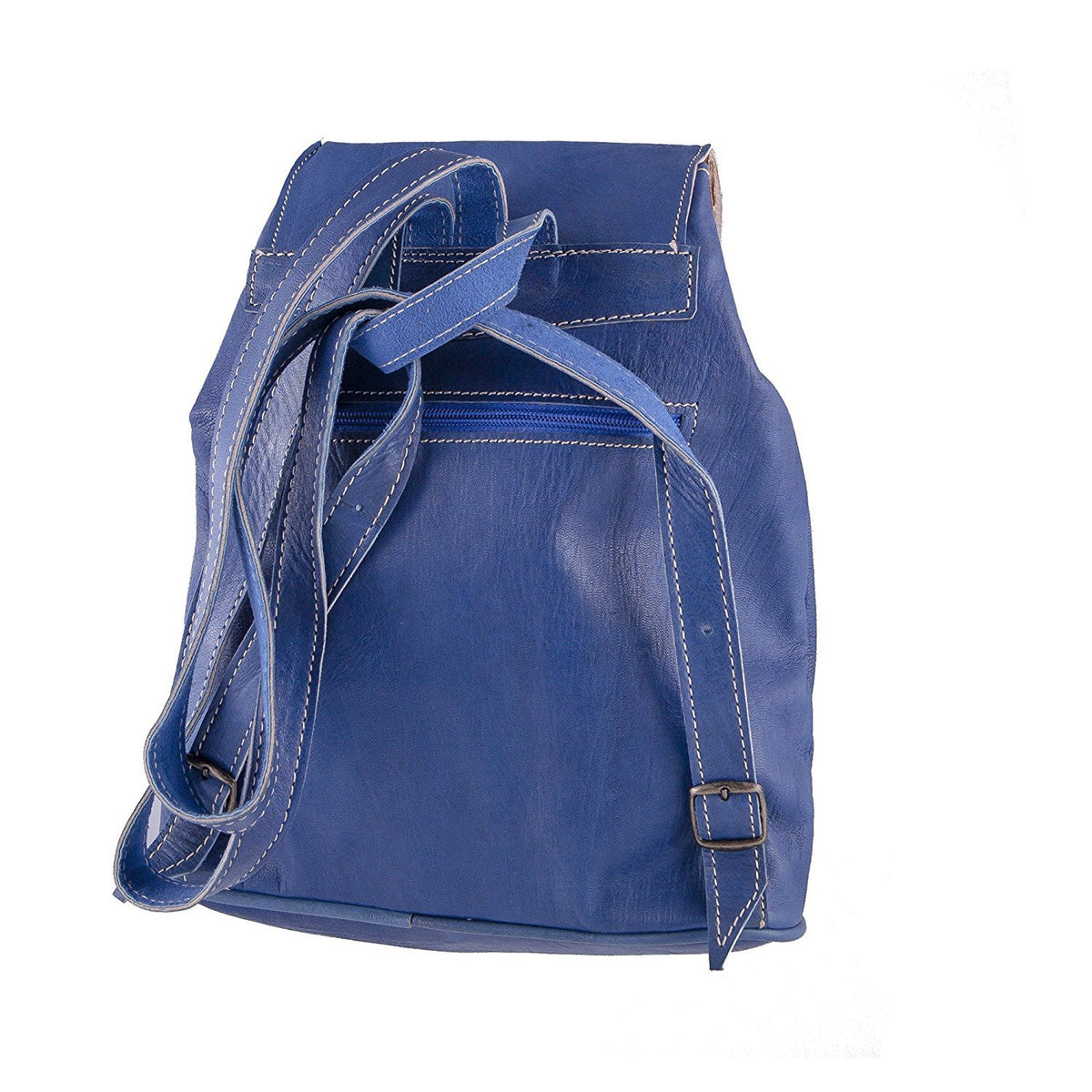 Vintage style women's leather backpack - Handmade - Blue