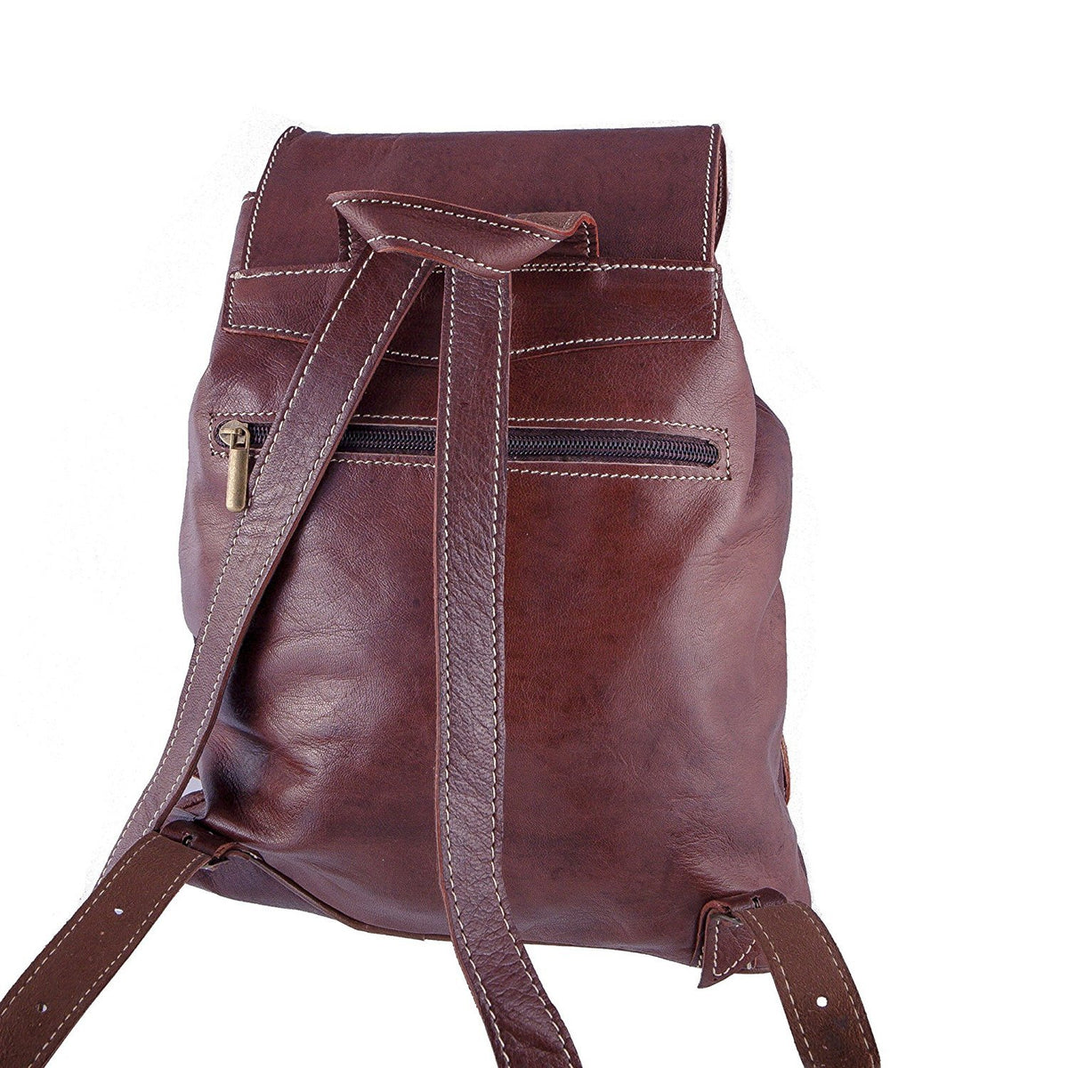 Vintage Style Women's Backpack - Handmade - Dark Brown