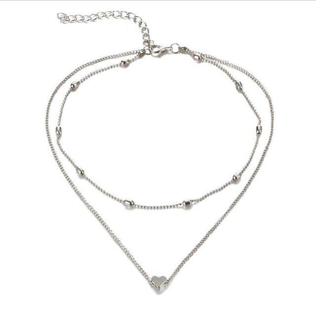 Double Heart Choker Necklace
