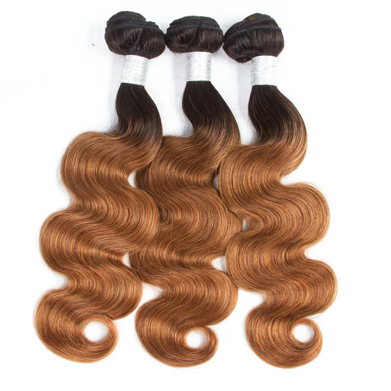 QT Hair Ombre Body Wave Bundles With Closure Remy Human Hair 3 Bundles With Closure 1b/30 Honey Blonde Brazilian Hair Weave Bundles