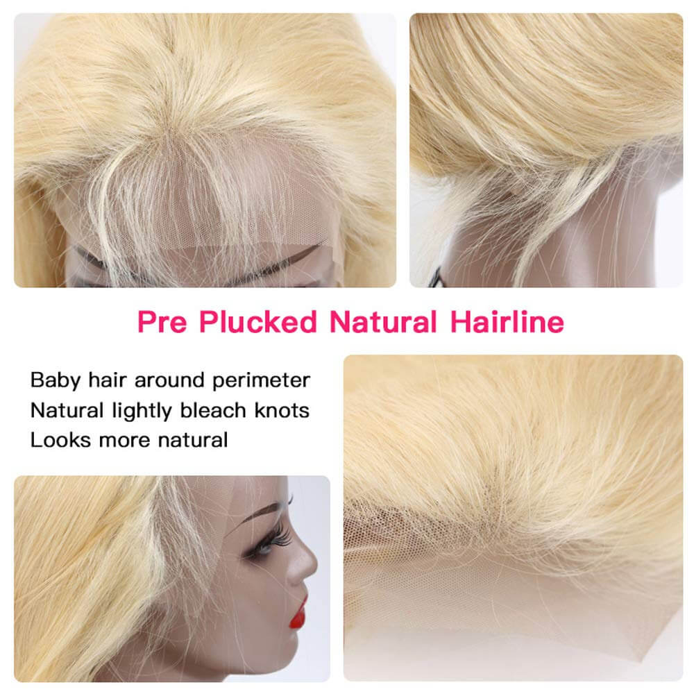 QT Hair Body Wave 134 Lace Front Wig Pre Plucked Honey Blonde Remy Lace Wigs