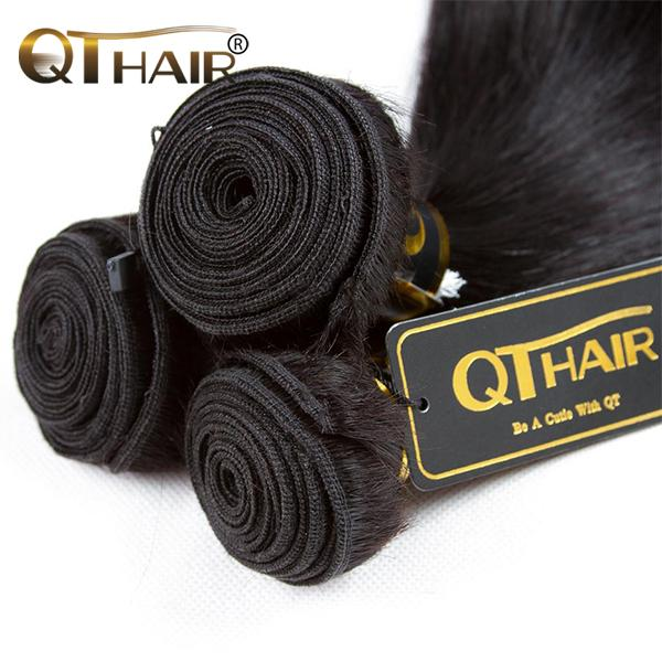 QT 12A Brazilian Hair Unprocessed Virgin Straight Human Hair Weave Bundles Natural Black Remy Hair