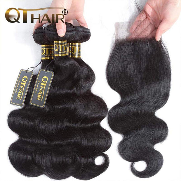 QTHAIR 12A Grade Brazilian Body Wave Human Hair Bundles With Frontal or Closure Unprocessed Brazilian Virgin Hair Bundles with Lace Frontal Closure - QTHAIR