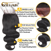 QTHAIR 12A Grade Brazilian Body Wave Human Hair Bundles With Frontal or Closure Unprocessed Brazilian Virgin Hair Bundles with Lace Frontal Closure - QT Hair