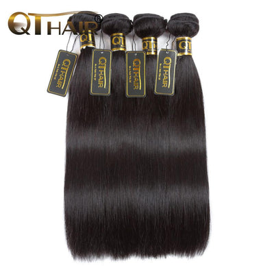 QTHAIR 12A 4 Bundles Straight Brazilian Virgin Hair Best Quantity Straight Human Hair Extensions Remy Hair Weave - QT Hair
