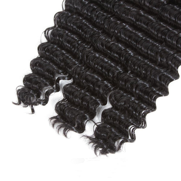 QT Whole Sale Remy Hair Brazilian Deep Wave Extension 3 Bundles - QTHAIR