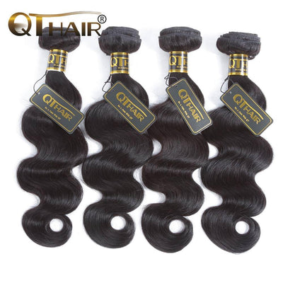 "QT Hair Indian Body Wave Hair Weave Bundles Natural Color 100% Human Hair weave 4 Piece 8-30"" Remy Hair Extensions - QT Hair"