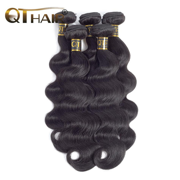 "QT Hair Indian Body Wave Hair Weave Bundles Natural Color 100% Human Hair weave 4 Piece 8-30"" Remy Hair Extensions - QTHAIR"