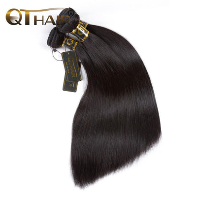 QT 3 Bundles Straight Indian Human Hair Weaving Natural Color - QT Hair