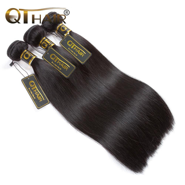 QTHAIR 12A Virgin Hair Indian Straight Human Hair 100% Unprocessed Straight Indian Virgin Hair Weave - QTHAIR