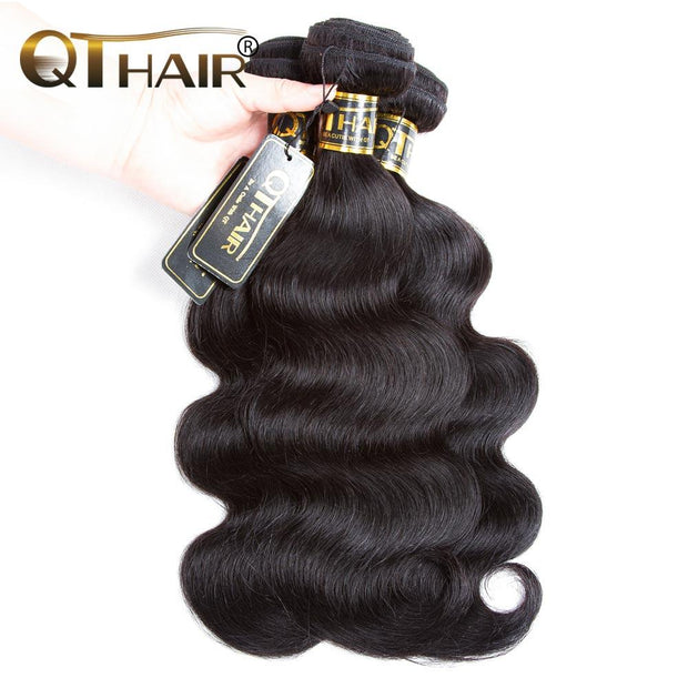 QT Malaysian Human Hair 3 Bundles Virgin Unprocessed Body Wave Hair Natural Color - QT Hair