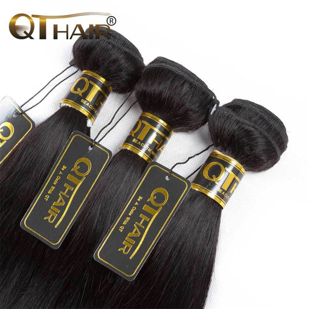 QT Malaysian Straight Wavy Virgin Hair 3Bundles Deals 1B Color - QT Hair