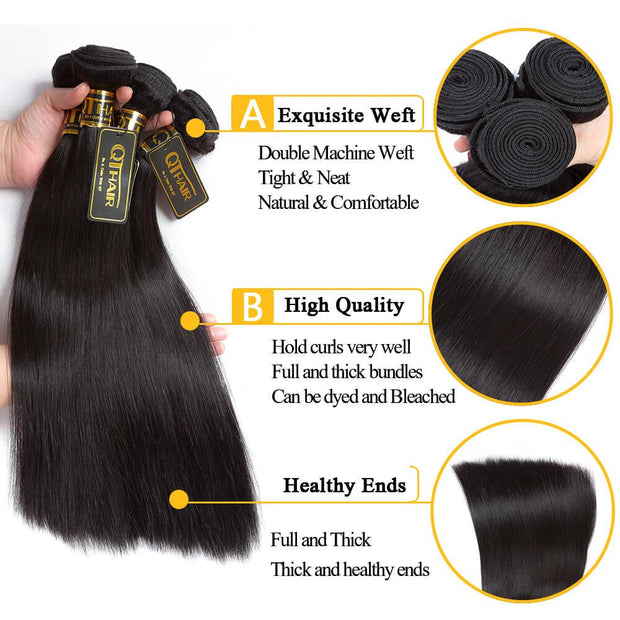 QT 12A Brazilian Hair Unprocessed Virgin Straight Human Hair Weave Bundles Natural Black Remy Hair - QT Hair