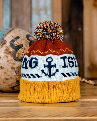 Bobble Hat // Rust & Mustard
