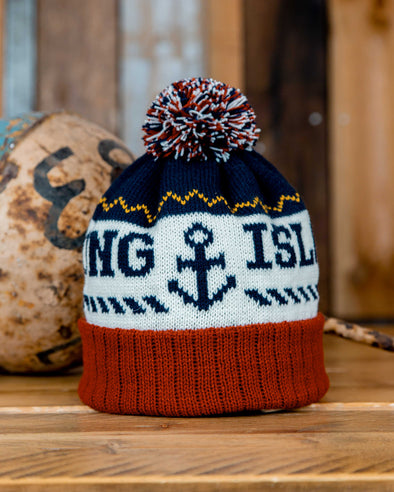 Bobble Hat // Navy & Rust