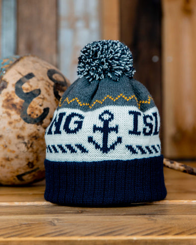Bobble Hat // Grey & Navy