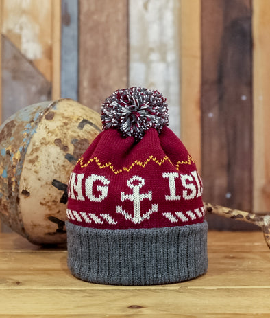 Bobble Hat // Burgundy & Grey