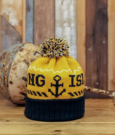 Bobble Hat // Yellow & Navy
