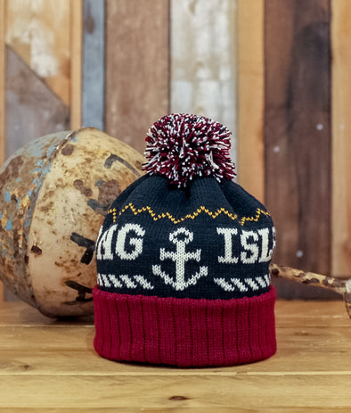 Bobble Hat // Navy & Burgundy
