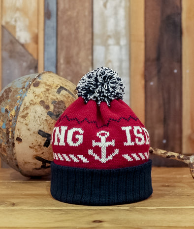 Bobble Hat // Burgundy & Navy