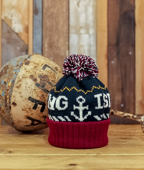 Kids Bobble Hat // Navy & Burgundy