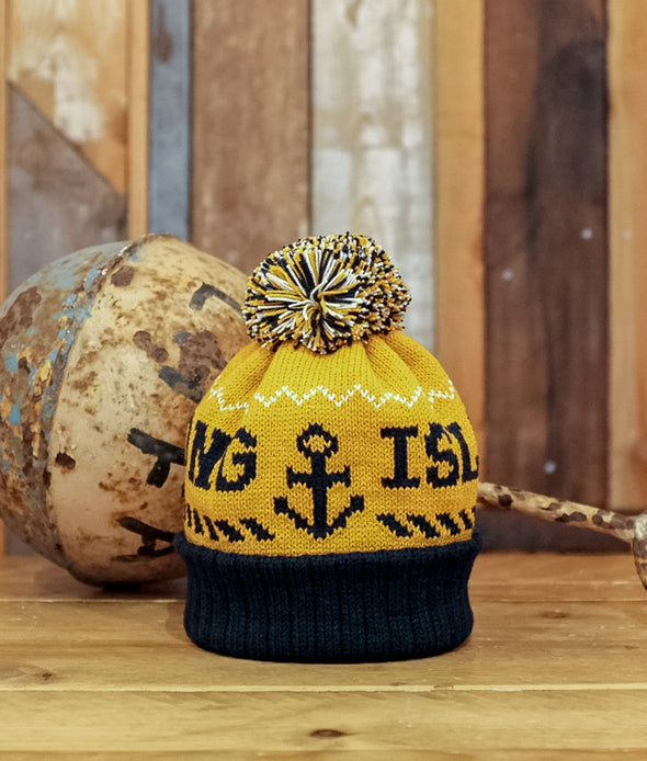 Kids Bobble Hat // Yellow & Navy