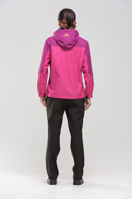 Rear view, Pink Women's Water- & Windproof Jacket