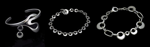 Annika Rutlin unusual circular solstice collection silver bangles and bracelets jewellery