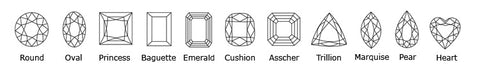 Diamond shapes diagram brilliant pear baguette emerald princess oval trillion cuts