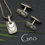 Geo layered silver men's contemporary jewelry collection by Annika Rutlin