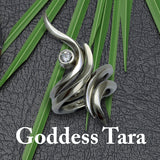 Goddess Tara Yoga inspired jewelry featuring white sapphires by Annika Rutlin