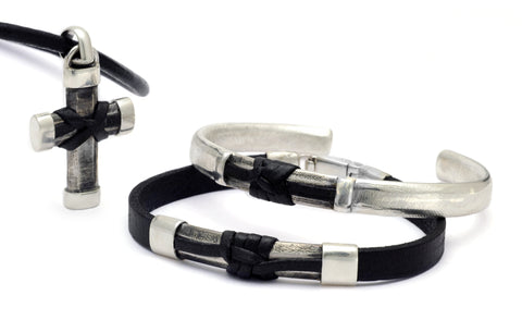 Inai knot of affection mens silver and leather designer jewelry by Annika Rutlin