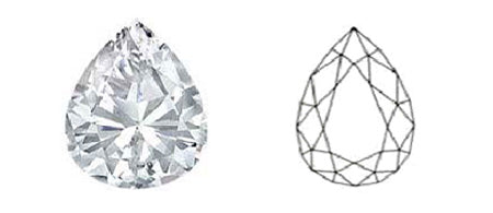 droplet shape or pear cut diamond image and diagram showing cut style