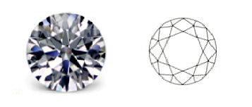 picture and diagram showing brilliant cut diamond