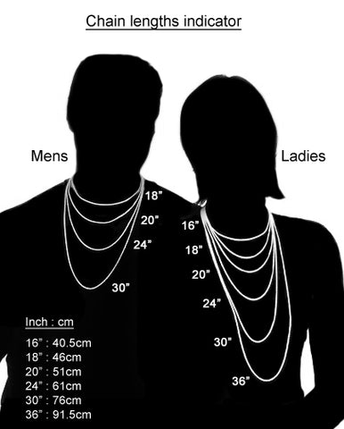 Handy jewellery chain length guide to illustrate where necklaces hang on the body