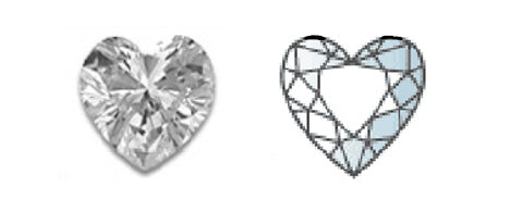 romantic heart shape diamond image and diagram showing cut style
