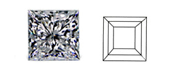 square or princess cut diamond image and diagram showing cut style